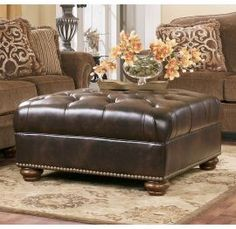 presidio antique oversized accent design by ashley - Brown Leather Ottoman