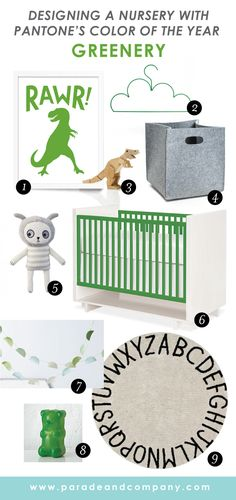 Do you need a jumping off point for decorating your baby's nursery? Why not use Pantone's 2017 color of the year – greenery! Vibrant and fresh, this year's gree Baby Room Decor, Nursery Decor, Bedroom Decor, Pantone 2017 Colour, Pantone Greenery, Color Of The Year 2017, Green Theme, Toddler Rooms, Nursery Neutral