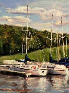"Daily Paintworks - ""Two Boats"" - Original Fine Art for Sale - © Jonelle Summerfield"