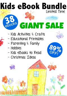Giant Kids eBook Bundle Sale available November 23, 2015 through December 14, 2015. A collection of ebooks about kids activities, art & crafts, educational printables, parenting & family, how to start a blog, kids books to read, and Christmas ideas! Don't miss this.