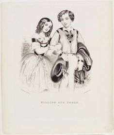 <p>Young couple arm in arm. She to left, he to right holding hat. Both looking out at viewer. Black and white image. This charming print of a couple is typical of the courting scenes Currier & Ives produced for display…</p>