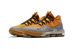 b4a9ef3f669 Nike LeBron 16 Low Safari First Look yellow gum rubber cement print black  James atmos Kobe