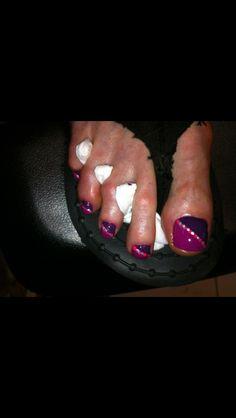 Purple polka toes! #nailartbykrystle #imagineesthetique #pointeclaire #montreal #pedicure #manicure #nailart #prettytoes #opi
