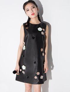 Flower Applique Shift Dress  pixiemarket  fashion  womenclothing   pixiemarket 0bc3e55d1