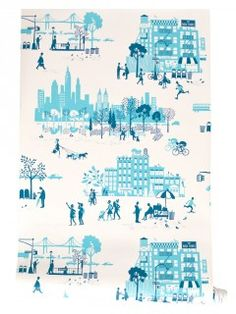 Famille Summerbelle: Wallpaper Morning Manhattan (blue) # mimiscircus