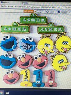 Cookies art by shirlyn Sesame Street Cookies, Sesame Street Birthday, Cookie Decorating, Icing, Cookie Ideas, Decorated Cookies, Instagram Posts, Kids, Art