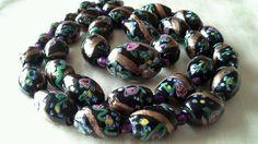 ANTIQUE VINTAGE VENETIAN FANCY ROSE AVENTURINE GLASS BEAD NECKLACE 34 beads 29