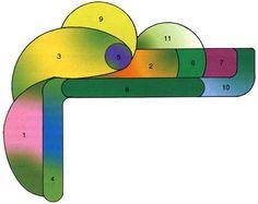 """Клумба из лекарственных трав===========================================На рисунке вы видите, как будет выглядеть цветник в начале лета. Такой цветник удобно разбить где-нибудь в углу недалеко от летней кухни. Цветник имеет форму """"уголка"""".  Для цветника использованы лекарственные цветы: 1 — эхинацея пурпурная, 2 — календула лекарственная, 3 — пижма обыкновенная, 4 — вероника лекарственная, 5 — шалфей лекарственный, 6 — бадан толстолистный, 7 — лебеда садовая, 8 — ландыш майский, 9 — коровяк…"""