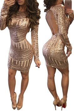 d1ae0dc983c Backless Body Sheath Striped Sequins Short Dress