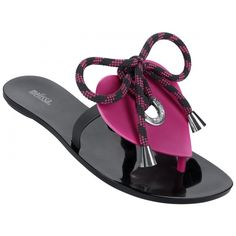 Melissa Shoes Bliss Black/Pink ($69) ❤ liked on Polyvore featuring shoes, sandals, flip flops, black shoes, black patent leather shoes, flip flop sandals, pink flip flops and melissa shoes