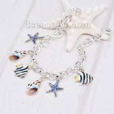 Wholesale New Fashion Clip On Charms Bracelets Link Cable Chain Silver Plated Multicolor Marine Animal Pattern – 8seasons.com