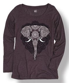 Another great find on #zulily! Heather Purple Elephant Scoop Neck Tee #zulilyfinds