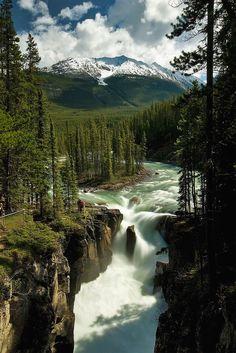 Sunwapta Falls in Jasper is één van de vele watervallen in dit gebied. Nature Pictures, Travel Pictures, Beautiful Pictures, Beautiful Places To Visit, Beautiful World, Places To Travel, Places To See, Photos Voyages, Banff National Park
