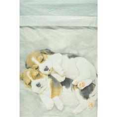 Completo 1 piazza con stampa cani, realizzato in puro cotone 100%. Set composto da sottolenzuolo con angoli in tinta unita, sopra lenzuolo con stampa cani e federa cuscino double-face - € 69,90   Nico.it