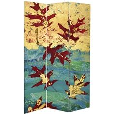 Bring the crispness of Autumn into your home all year long. This is a large scale high quality reproduction of a collage created by our own artist. Rich red leaves fall against a background of golden yellows and deep blues and greens. This screen is the same on both sides.