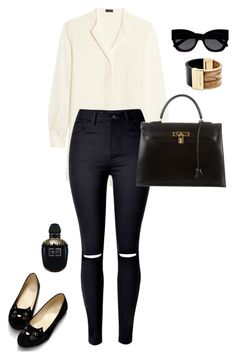 """Out"" by lisanicoleporter ❤ liked on Polyvore featuring Joseph, Hermès, Karen Walker, Michael Kors and Alexander McQueen"