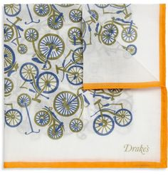 Drake's Bicycle-Print Cotton Pocket Square | MR PORTER