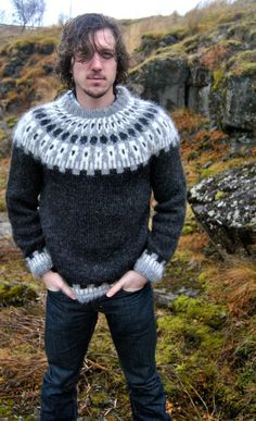 XS Sif Icelandic Sweater - Handmade with Pure Icelandic Wool Nordic Pullover, Nordic Sweater, Men Sweater, Pullover Design, Sweater Design, Icelandic Sweaters, Wool Sweaters, Fair Isle Knitting, Knitting Designs