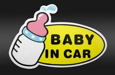 2pcs/lot Baby in Car Warning sitckers baby's bottle  Decals Reflective Personalized Car Style Car Accessories free shipping $5.80