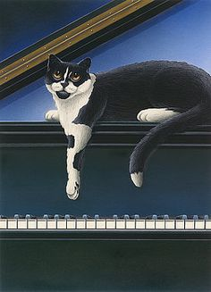 Fur Neil - Cat on Piano by Carol Wilson