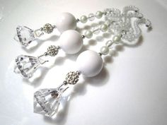 3 Beaded Christmas White Icicle Ornaments with Diamond Dangles in Sparkly Winter Wonderland White Bling on spiral beaded hangers