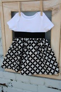 take a onesie and sew on skirt with ribbon...so cute and easy for a girl. Maybe I'll break out my sewing machine?!!!