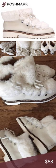 "JUST IN! LIBERATED FUR BOOTS Snuggle your feet in these ultra soft hiking boots! Faux leather upper/Lace-up closure/Round-toe/Liberated-fur details/Padded footbed/Lugged Rubber outsole/Shaft: 4.5""   Bundle Discount ^ No Trades ^ Offers Considered ^ Have a question? Please Ask! Franco Sarto Shoes Lace Up Boots"