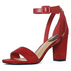 8e27f7763c50 Allegra K Women s PU Panel Chunky Heel Ankle Strap Sandals (Size US 8.5)  Deep Red