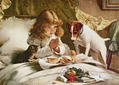 Suspense by Charles Burton (1845-1894). An English painter who attained great success with his paintings of children and their pets. via fineartamerica