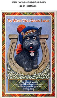 To Wish You Good Luck Postcard with Scottie Dog