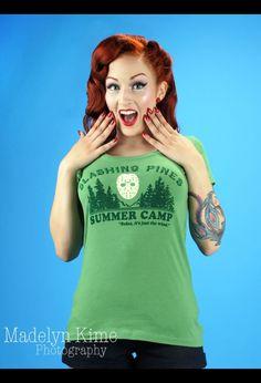 Slashing Pines Tee in Green | Pinup Girl Clothing
