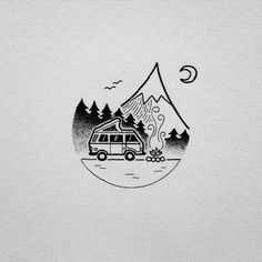 Love these cute illustrations by david_rollyn. Simple yet detailed. - Inspiration for simple pen and ink artwork. Tent Drawing, Camper Drawing, Surf Drawing, Drawing Art, Black Pen Drawing, Beach Drawing, Doodle Art, Simple Artwork, Simple Art And Craft