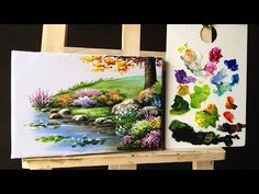 How to paint bushes flowers lesson 2 - YouTube