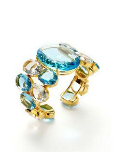 Blue Quartz & Clear Quartz Cuff Bracelet by Bounkit at Gilt