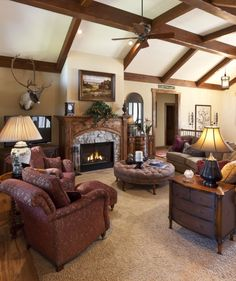 Aberdeen Living Room With Exposed Wood Beams And Large Fireplace For More Information Visit