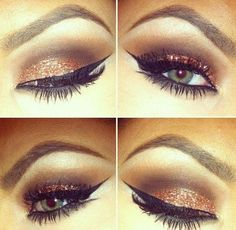Makeup, Ouu pretty. Gold smokey eye with black liner.