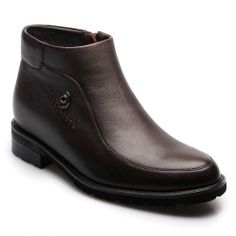 Brown Calfskin Leather Height Increasing Mens Dress Boots;MODEL: 008H26;Sale: $205.00