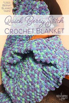 Quick Berry Stitch Crochet Blanket Craft Tutorial Using Bernat Blanket Yarn 2