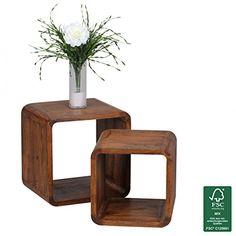 WOHNLING 2er Set Satztisch Massiv-Holz Sheesham Wohnzimmer-Tisch Landhaus-Stil Cubes Beistelltisch Würfel-Regal Natur-Holz dunkel-braun Würfeltisch Modern Naturprodukt Echt-Holz Couchtisch Unikat