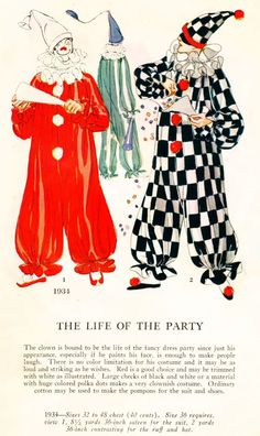 Masquerade Patterns - Mostly the Men - The Life Of The Party Vintage Clown, Vintage Halloween, Vintage Costumes, Circus Aesthetic, Pierrot Clown, Cute Clown, Character Design Inspiration, Historical Clothing, Look Cool