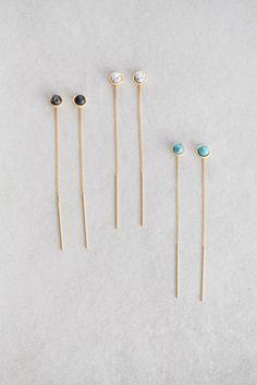 Sphere Stone Threader Earrings