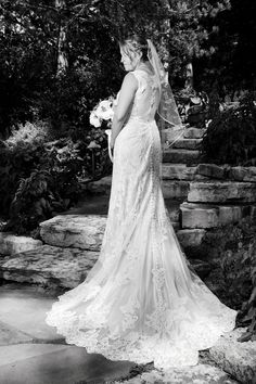 A stunning lace train and illusion back wedding gown from Vera House of Bridals is a perfect jaw dropper for this Milwaukee bride, Photo by Front Room Studios Bride Photography, Country Club Wedding, Wedding Portraits, Milwaukee, Illusion, Wedding Gowns, Studios, Train, Bridal