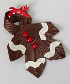Tressed Up Couture Brown Red Gingerbread Girl Clip zulily Ribbon Hair Bows, Diy Hair Bows, Bow Hair Clips, Ribbon Art, Ribbon Crafts, Ribbon Projects, Barrettes, Hairbows, Christmas Hair Bows