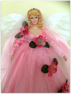 Your place to buy and sell all things handmade Ghost Of Christmas Past, Angel Christmas Tree Topper, Merry Christmas Sign, Pink Christmas, Christmas Design, Christmas Angels, Glamour Dolls, Angel Crafts, Pink Trees