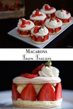Strawberry-style macaroons - My WordPress Website Köstliche Desserts, Sweet Desserts, Delicious Desserts, Dessert Recipes, Yummy Food, Macaron Flavors, Macaron Recipe, Macarons, Christmas Desserts