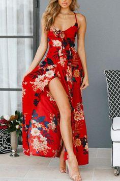 Spaghetti Strap Backless High Slit Floral Printed Sleeveless Maxi Dres –  ebuytide Boho Summer Dresses 9212dd2987d8