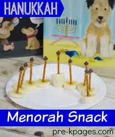 Classroom Recipes: Easy Hanukkah Menorah Snack Kids Can Make. Learning about Hanukkah can be fun, and yummy!