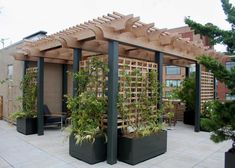 Would you like to have a beautiful pergola built in your backyard? You may have a lot of extra space available for something like this, but you'll need to focus on checking out different pergola plans before you have anything installed. Pergola Patio, Backyard Patio Designs, Pergola Designs, Backyard Landscaping, Pergola Kits, Cheap Pergola, Front Porch Pergola, Hot Tub Pergola, Wisteria Pergola
