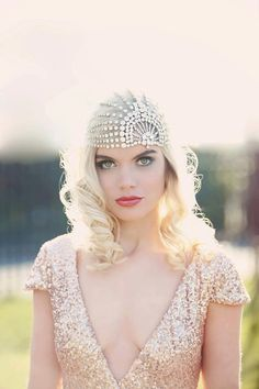 Lujon - Crystal Art Deco 1920s Tulle Headpiece....soo pretty I wish I could afford this veil