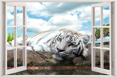 Huge Artwork Decal Removable D???Cor Tiger Wall Sticker Jungle Wild Animals